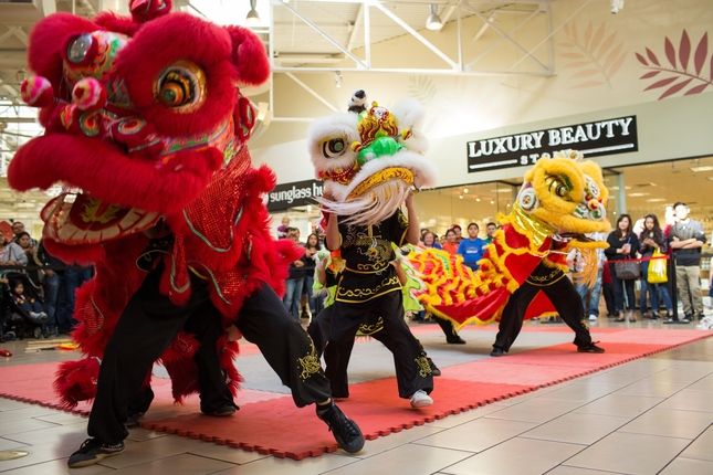 KungFu Dragon USA students perform during the Chinese New Year celebration at the Great Mall on Saturday. Photo by Stan Olszewski/SOSKIphoto